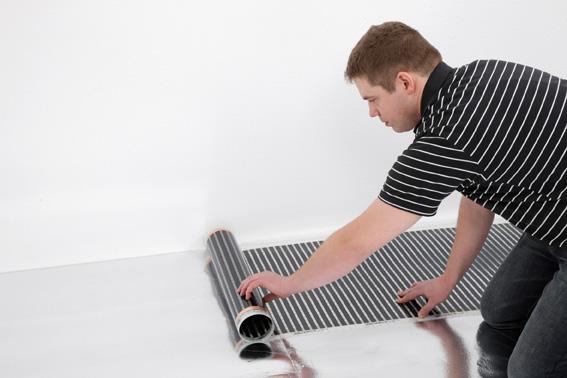elektrische fu bodentemperierung f r laminatb den warme. Black Bedroom Furniture Sets. Home Design Ideas